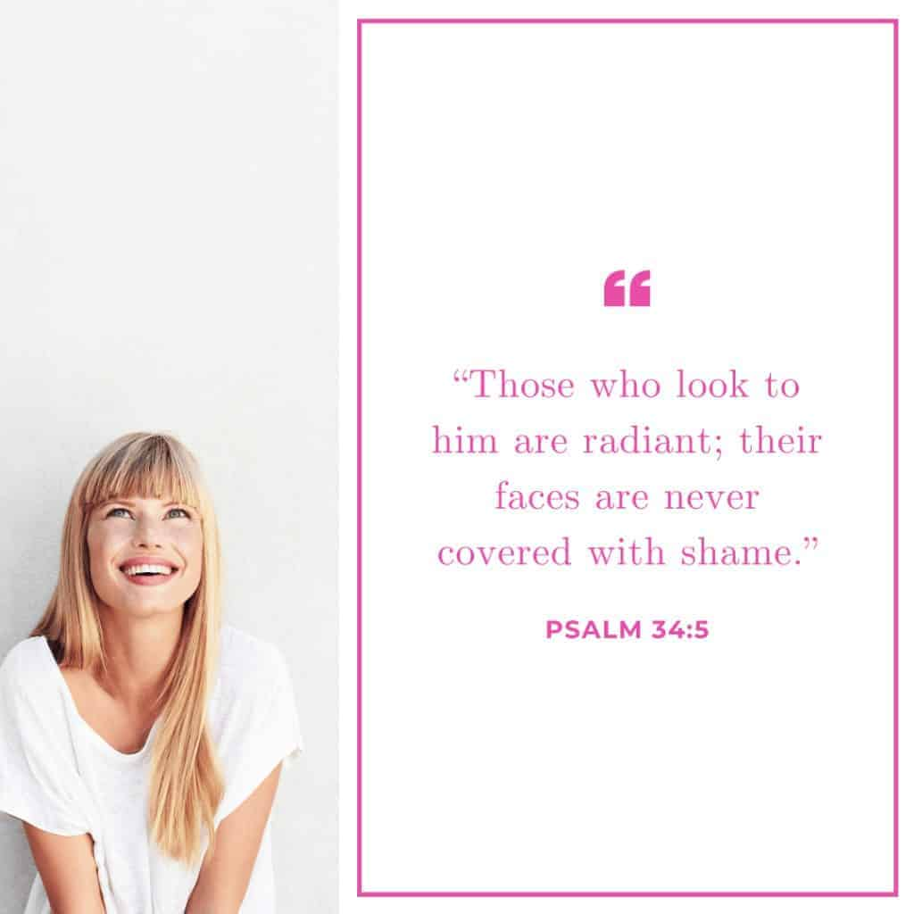 Made in the Image of God - A quote from Psalm 34:5 and an image of a woman smiling looking up