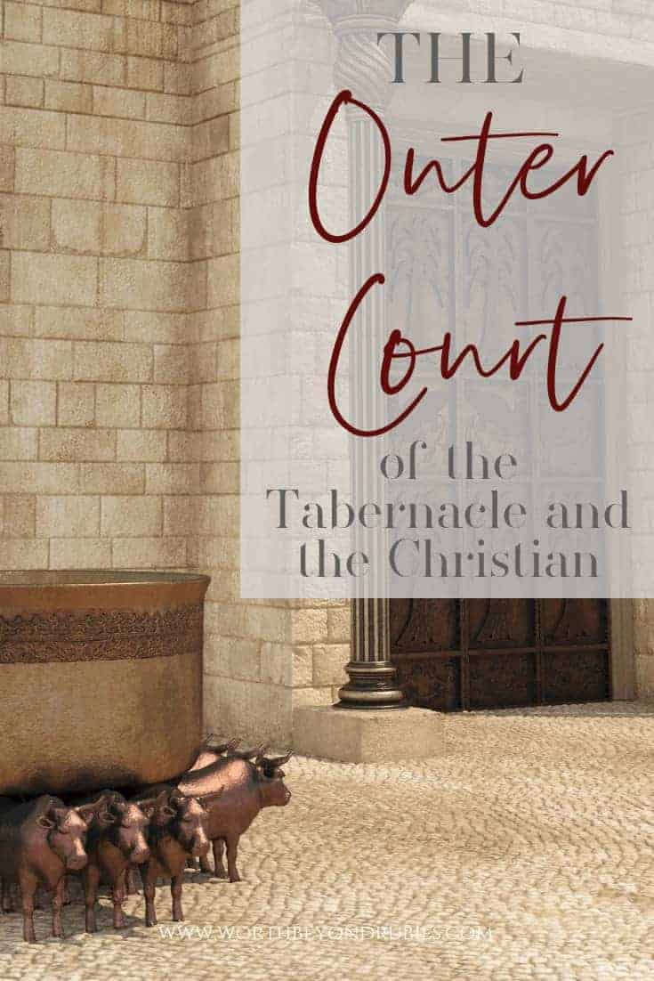 The Outer Court of the Tabernacle - An image of the outer court and the altar of sacrifice