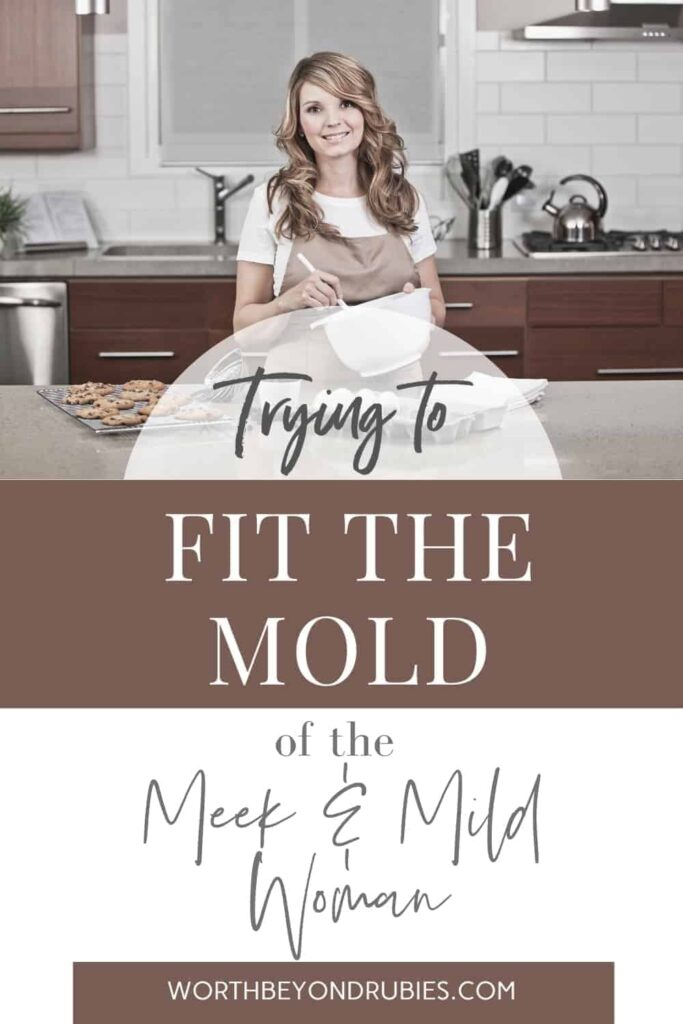 An image of a woman baking in a kitchen and a text overlay that says Meek and Mild - Trying to Fit the Mold