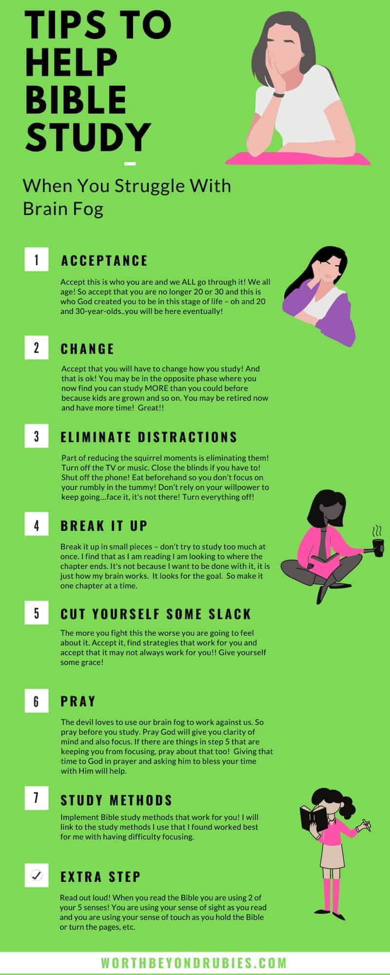 An infographic in lime green listing the 7 steps to deal with menopause brain fog that can be found in the video on the post on Menopause Brain Fog