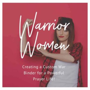 Warrior women - Creating a custom war binder for a powerful prayer life - A woman in a red plaid shirt against a red backdrop making a muscle with her arm