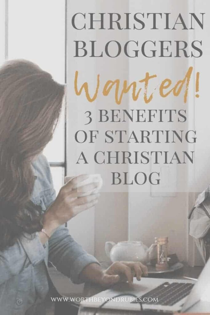 Christian Bloggers Wanted - Christian Lifestyle Blogs: An image of a woman holding a cup of coffee while looking at her laptop