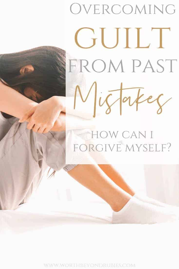 Overcoming Guilt From Past Mistakes - How Can I Forgive Myself? - A woman on a bed in sweats with her head down on her knees