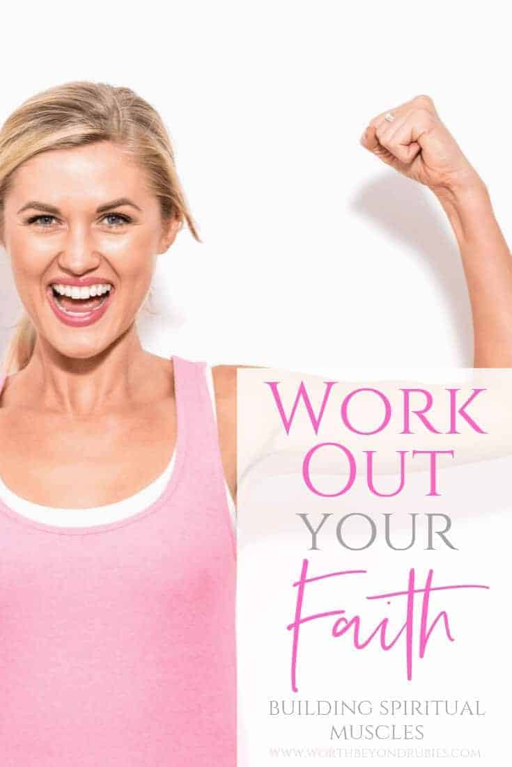 Work Out Your Faith - Building Spiritual Muscles - A blonde woman in a pink tank top with her arms up making muscles
