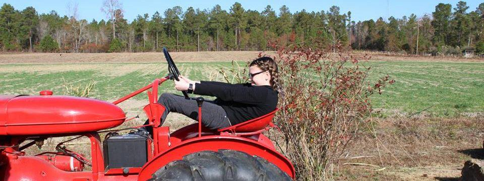 Riding on the tractor