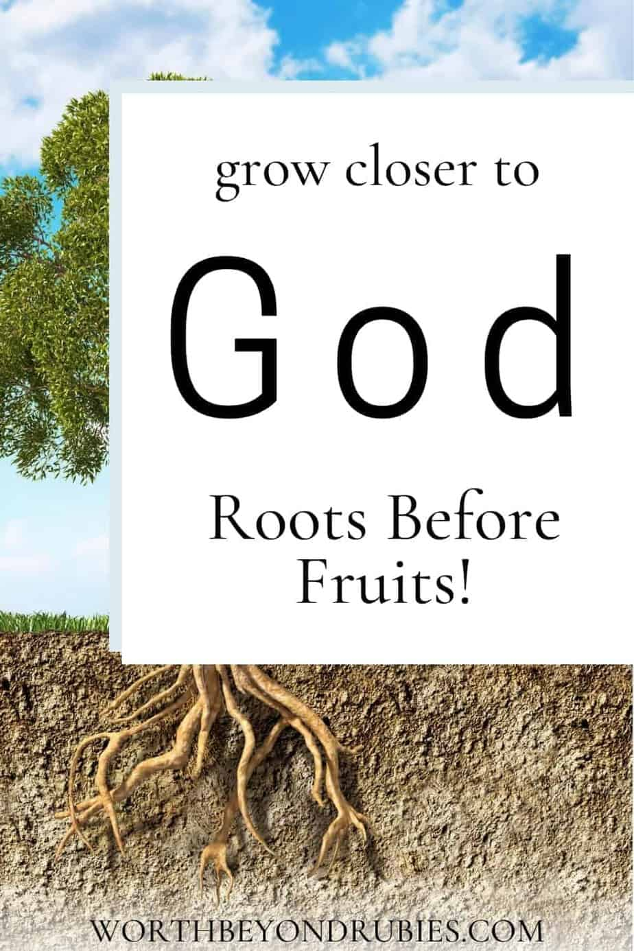 An image of a tree with all its leaves and a view into the ground underneath it showing the roots with text that says How to Get Closer to God – Roots Before Fruits