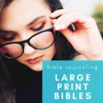 An image of a woman touching her eyeglasses - Large Print Bibles for the Visually Impaired
