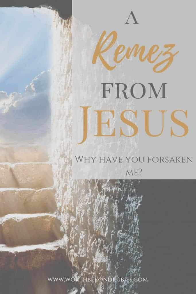 """The open tomb of Jesus and a text overlay saying """"A Ramez from Jesus - Why Have You Forsaken Me?"""