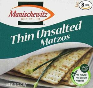 MANISCHEWITZ Thin Unsalted Matzo, 10-Ounce Boxes (Pack of 8)