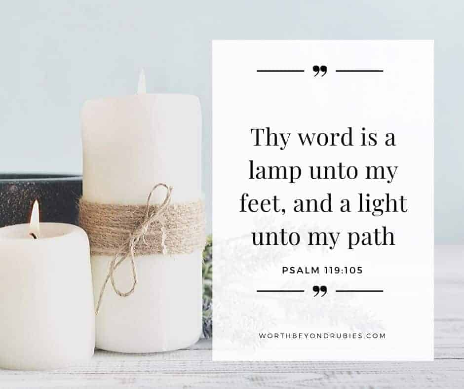 Thy Word is a Lamp Unto My Feet - The Power of the Word of God - an image of two pillar candles with lavender alongside them and Psalm 119:105 written
