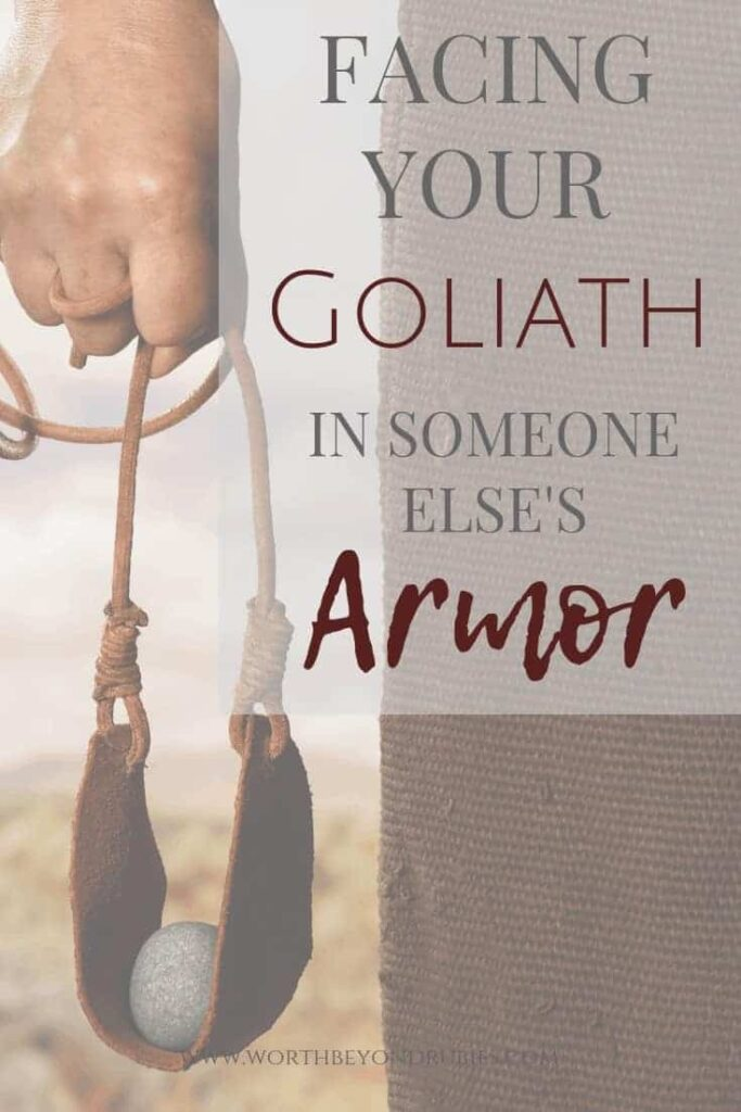 Facing your Goliath - David holding a slingshot with a stone in his hand