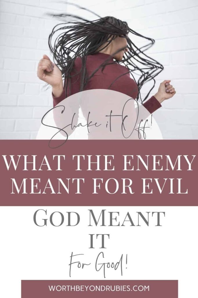"An image of a black woman with long hair dancing and whipping her hair around and text that says What The Enemy Meant For Evil, God Meant It For Good - ""Shake It Off"" in Faith"