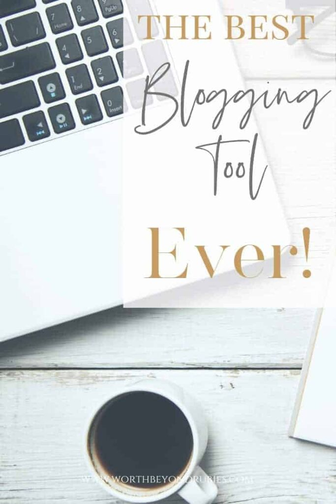 Blogger Essentials- Tailwind- The Best Blogging Tool Ever! A computer and coffee sitting on a white wooden table