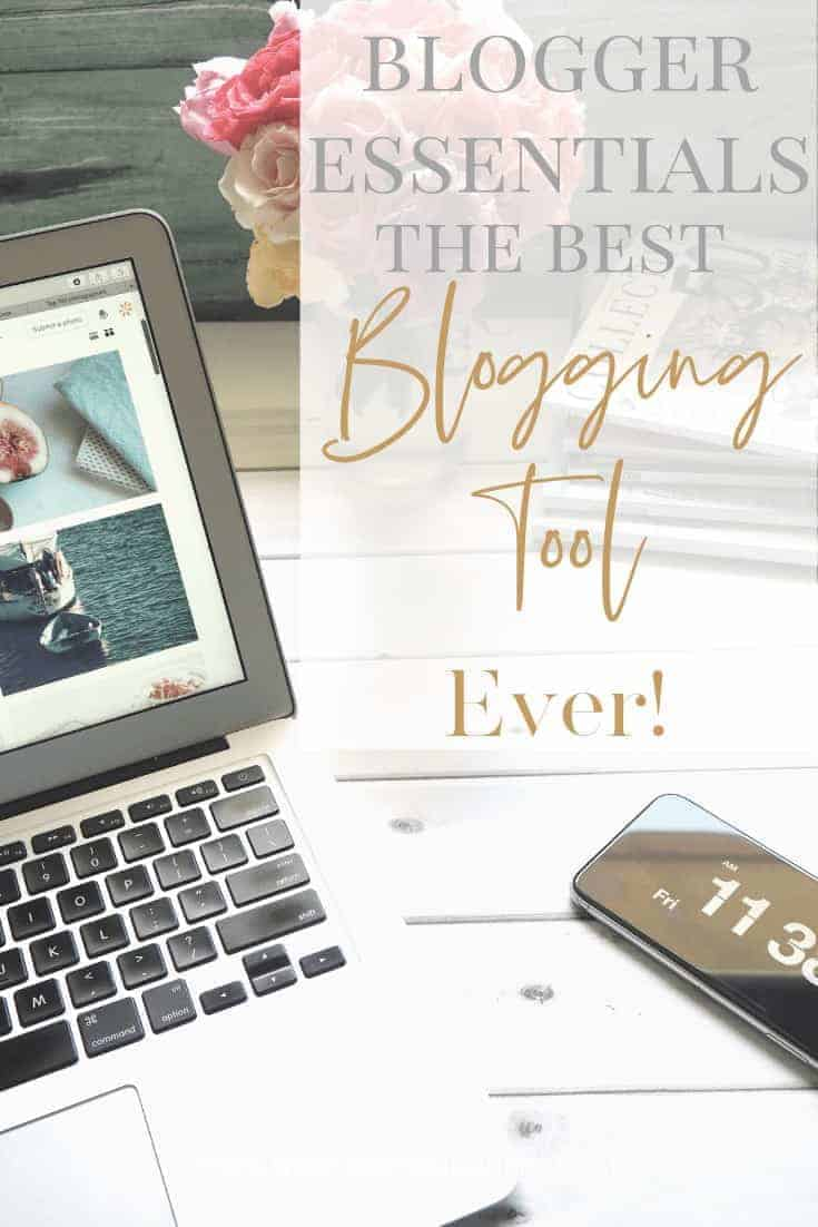 Blogger Essentials - Tailwind- The Best Blogging Tool Ever! A computer and iphone sitting on a white wooden table