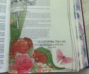 Bible Review of Tyndale NLT Inspire Art & Coloring Journaling Bible - An image of a colored overlay with flowers and butterflies