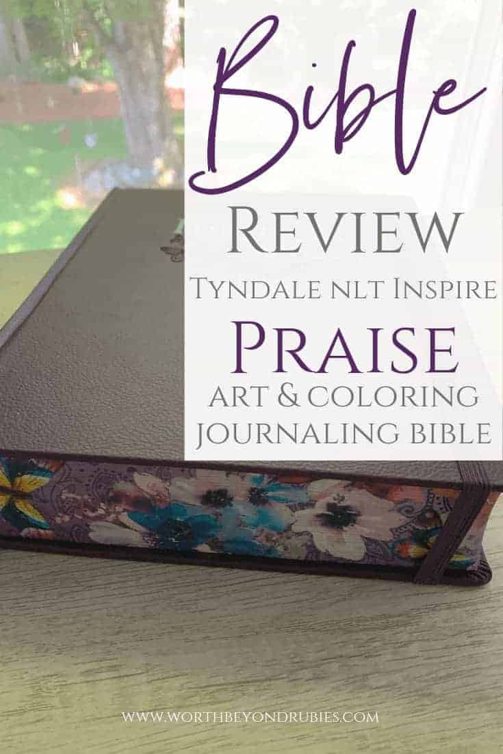 Bible Review of Tyndale NLT Inspire Art & Coloring Journaling Bible - An image of the journaling Bible on my white wooden desk with my window in the background overlooking my yard