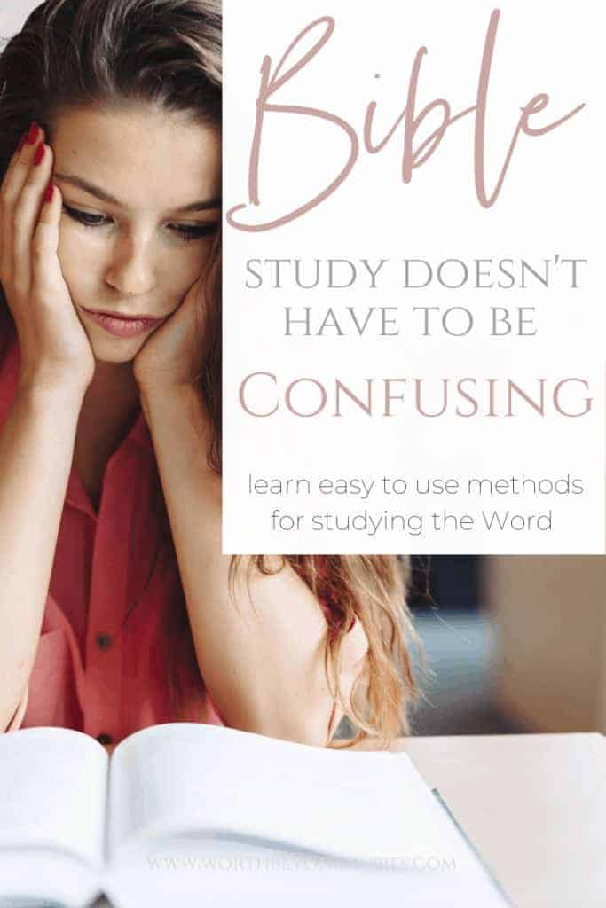 Bible Study Methods- a woman sitting at a desk reading a book with her head in her hands