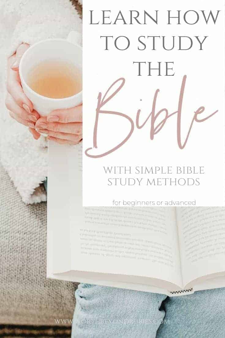 Bible Study Methods- How to Study the Bible for Beginners - an image of a book open on a woman's lap while she holds a cup of tea