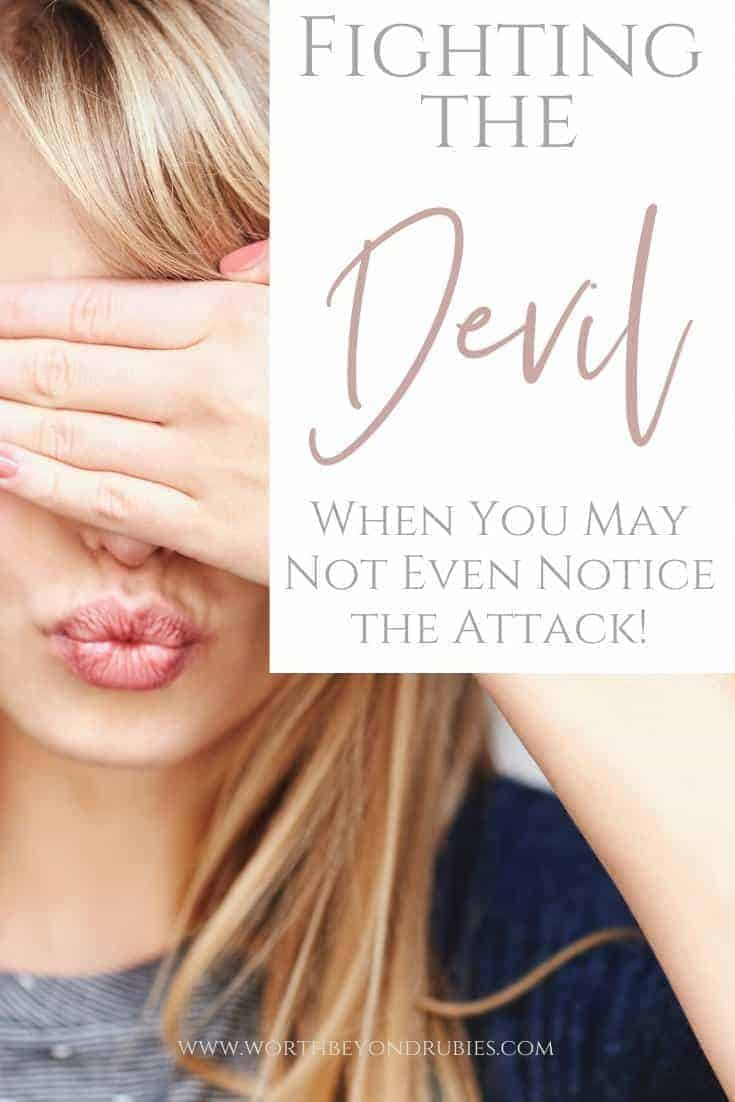 Fighting the Devil - Spiritual Attack - a woman with long blonde hair puckering her lips with her hand over her eyes