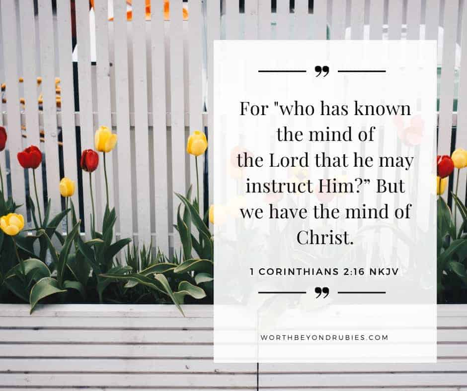 Knowing Who You Are in Christ - A white fence with colorful flowers in front of it and 1 Corinthians 2:16 quoted