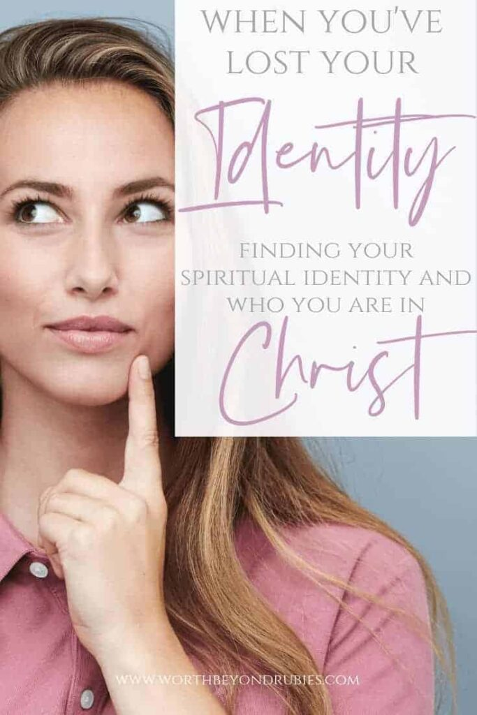 Knowing your spiritual identity - losing your identity to the world - a woman with her finger to her chin looking to the side like she is wondering something