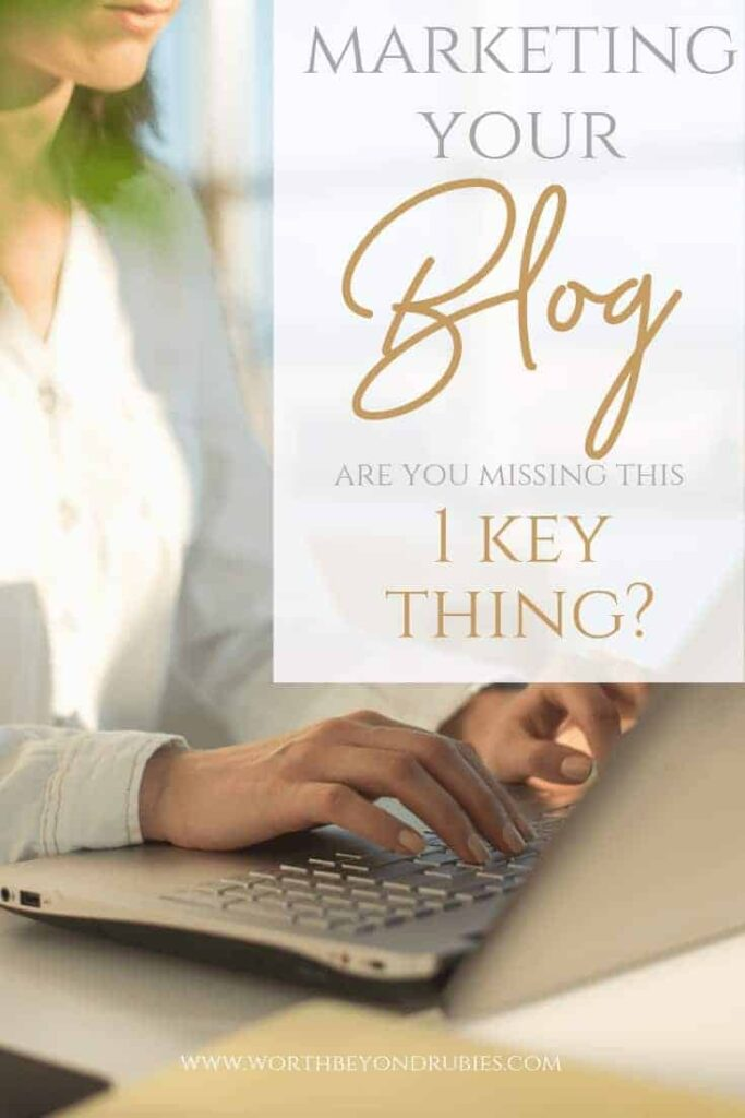 Marketing Your Blog - Christian Bloggers - A woman in a white blouse typing on a keyboard with sunlight streaming through the window