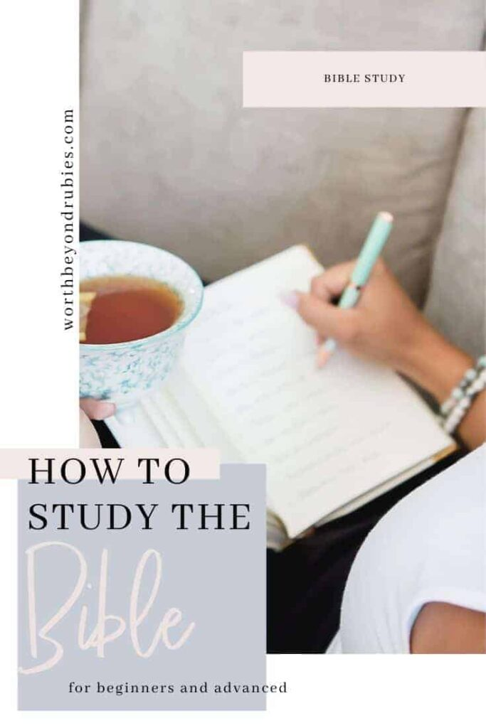 How to Study the Bible for Beginners- a woman reclining back on a couch writing in a notebook that rests on her legs