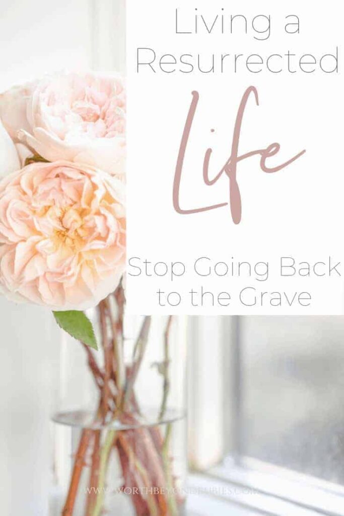 "Pink flowers in a vase on a windowsill with a text overlay that says ""Living a Resurrected Life - Stop Going Back to the Grave"""