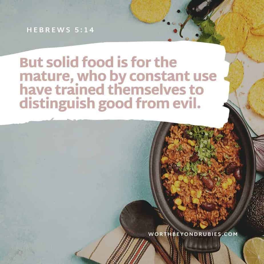 Hebrews 5:14 written as a text overlay over an image of food in a crockpot