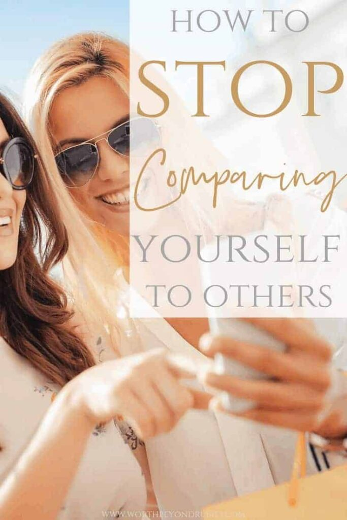 Comparing Yourself to Others - How to Stop Comparing Yourself - Two Woman with sunglasses on and shopping bags on their arms looking at a cell phone and pointing at it smiling