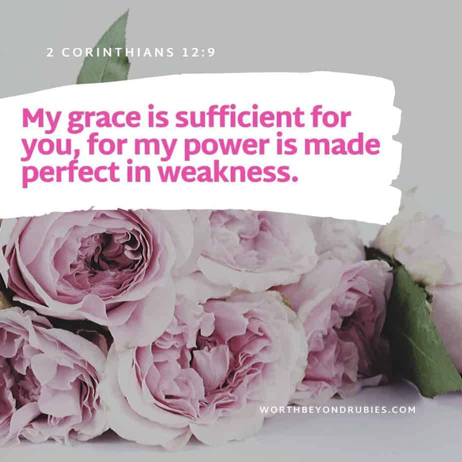 Scriptures on Peace - pink flowers and a verse from 2 Corinthians 12:9