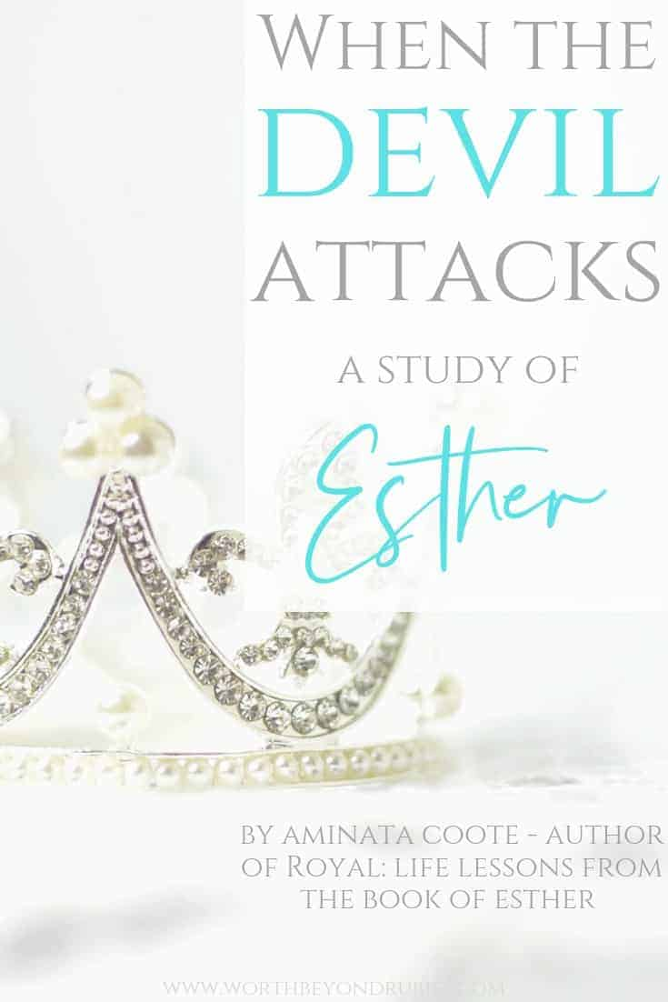 When the Devil Attacks - A study of the book of Esther - an image of a white crown with diamonds and pearls sitting on white backdrop