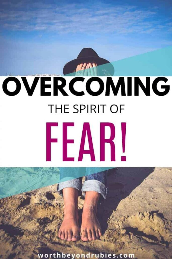 A woman sitting on the beach with a hat on and her hands covering her face - Overcoming the Spirit of Fear