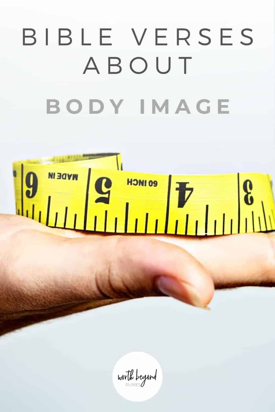 An image of a hand held flat with a yellow measuring tape on it and text that says Bible Verses About Bible Image