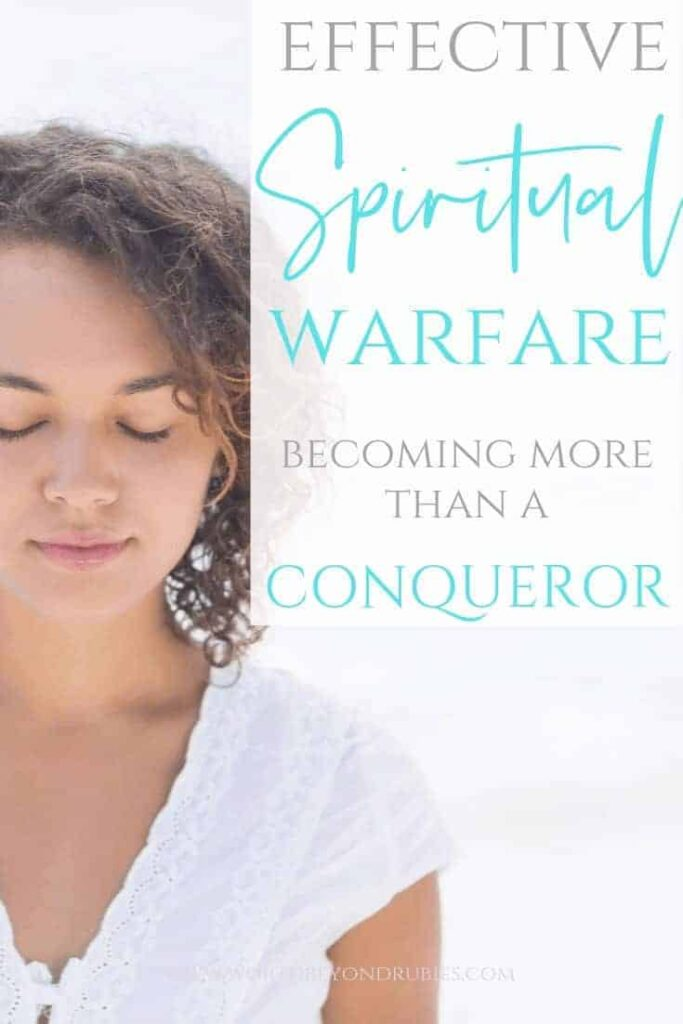 Effective Spiritual Warfare - More Than a Conqueror in Christ - A woman in white with her eyes closed in prayer