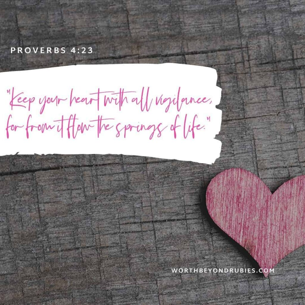 Guard Your Heart and Your Mind - God's Peace: An image of a pink heart on a weathered wooden background