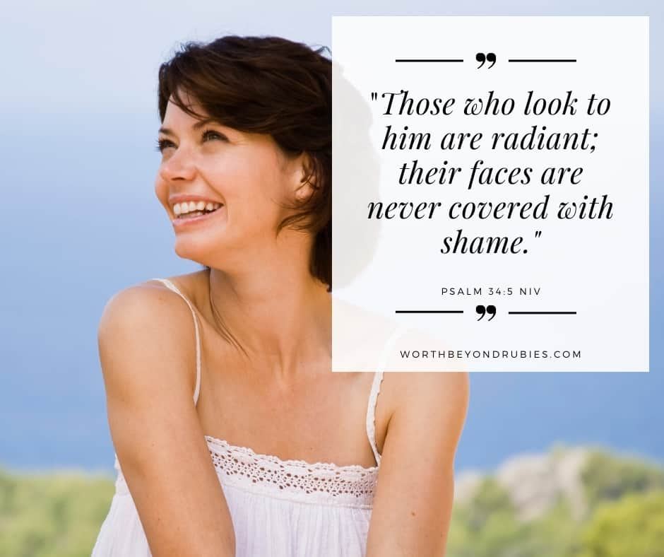 a smiling woman and a quote from Psalm 34:5 in the NIV for post on being made in the image of God