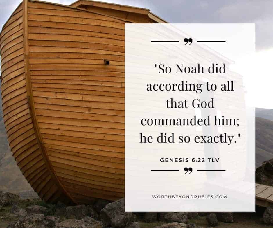 An image of Noah's ark resting on the ground and Genesis 6:22 quoted from the Tree of Life version