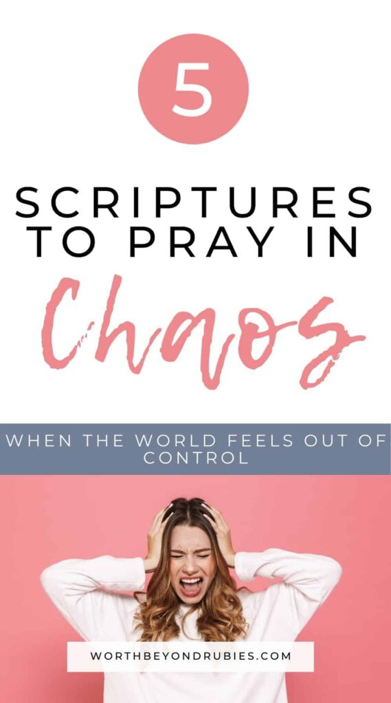 An image of a white woman against a pink background and she has long brown hair and a white sweater on and her hands up to her ears and her mouth like she is yelling she doesnt want to hear anymore and text that says 5 Scriptures to Pray in Chaos When the World Feels Out of Control