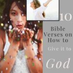 Give it to God - A Woman blowing confetti off her hands and another inset image with a woman in white in front of the ocean smiling with her arms stretched behind her