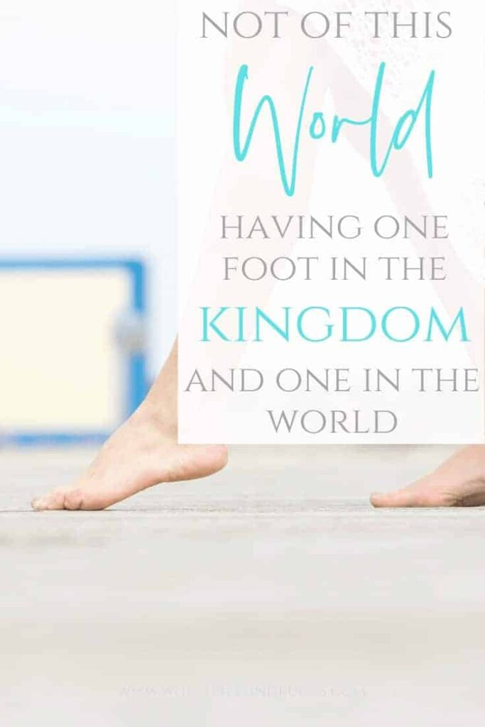 Not of This World - Having one foot in the Kingdom and one in the World - An image of a woman in a white dress walking on a boardwalk on the beach with one foot out in front of the other