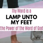 a lantern in the sand on the beach with a person's legs standing next to it - Thy Word is a Lamp Unto My Feet