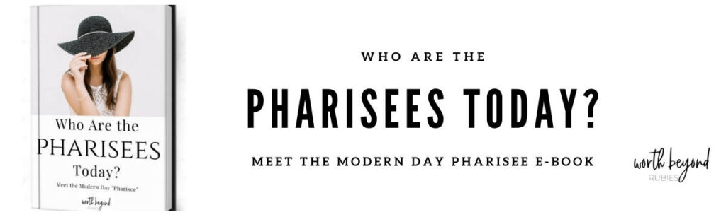 An E-Book cover image of a woman with long brown hair and a black brimmed hat being pulled down over her face by her hand and a text title that says Who Are the Pharisees Today? Meet the Modern Day Pharisee