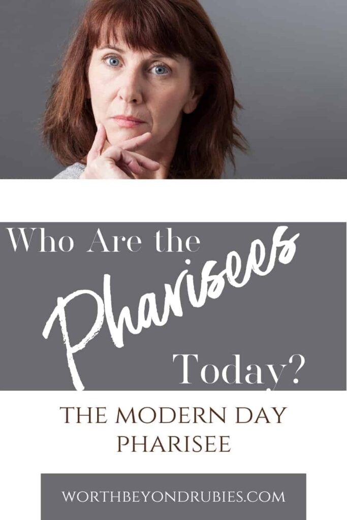 An image of a snobby woman with red hair and her hand up to her chin in a judgmental way and text that says Who Are the Pharisees Today? - The Modern Day Pharisee