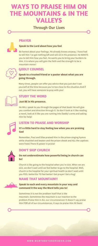 An infographic about ways to praise God in the mountains and valleys