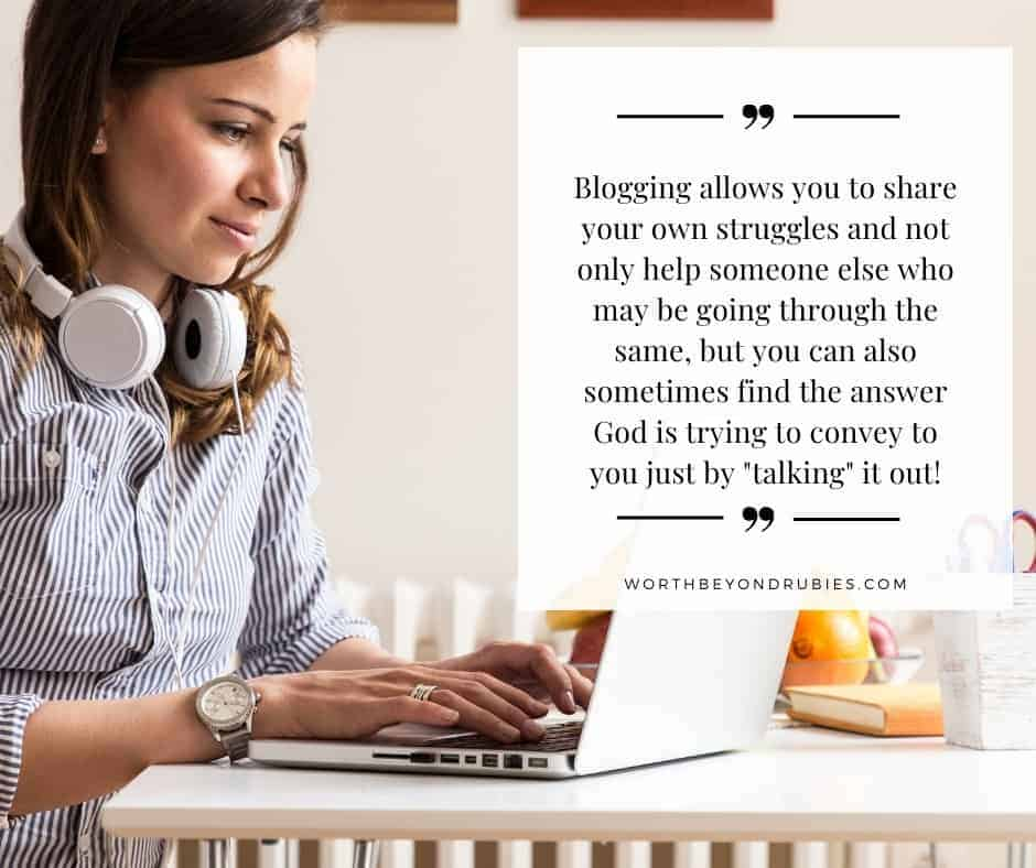 Attractive young woman working on her blog with headphones around her neck and text from the article quoted - Christian Lifestyle blogs