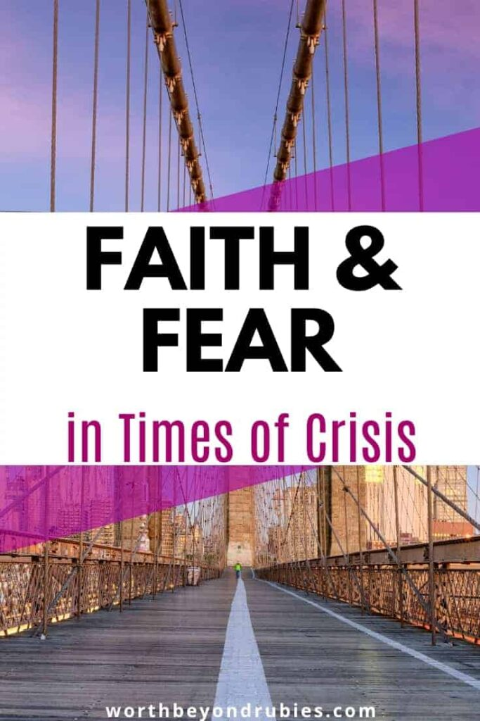 an image of an empty Brooklyn Bridge and a text overlay that says Fear and Faith in Times of Crisis