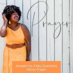 """A woman in an orange dress against a whitewashed wooden wall and a text overlay that says """"God Hears Our Prayer'"""