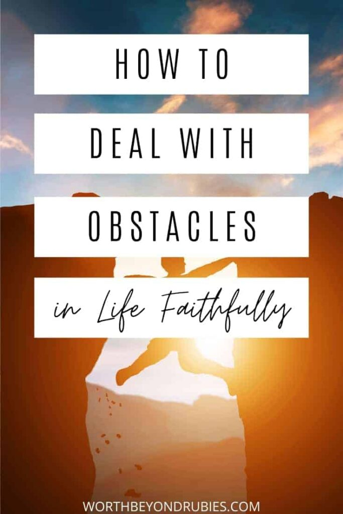 Obstacles in Life - An image of a person between two cliffs with the sun rising or setting behind them