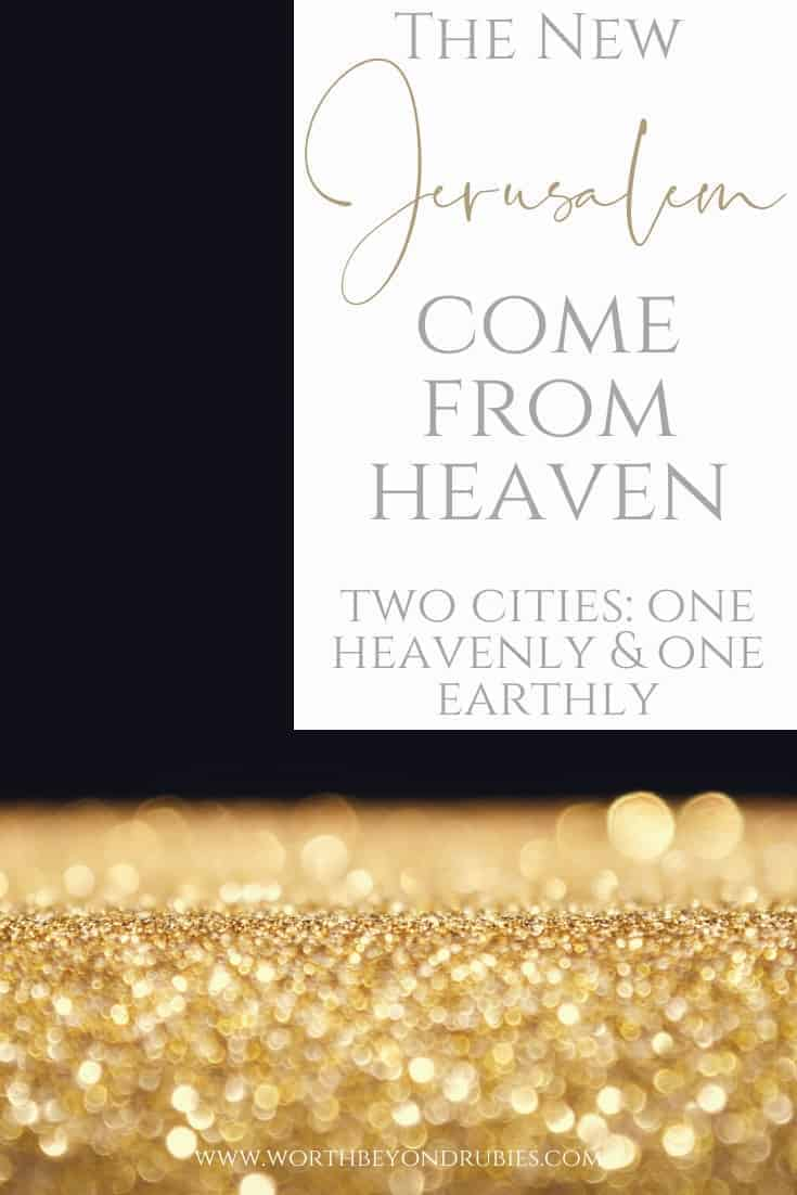 A black background with gold glittering on the bottom and a text overlay that says The New Jerusalem Come From Heaven - Two Jerusalems: One Heavenly, One Earthly